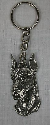 Great Dane Unique 3 Dimensional Pewter Keychain