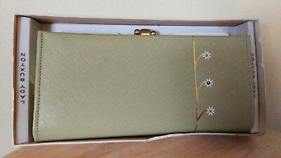 Vintage LADY BUXTON French CLUTCH/ Wallet Light Green Cowhide/Leather NIB!
