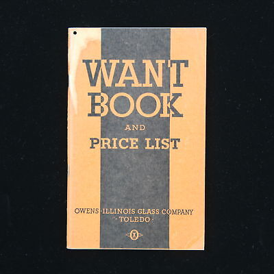 1933 Want Book & Price List Owens Illinois Glass Co. Toledo Druggist Notebook