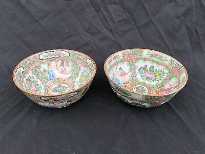 Two Antique Chinese Export Porcelain Rose Medallion Bowls 19th Century
