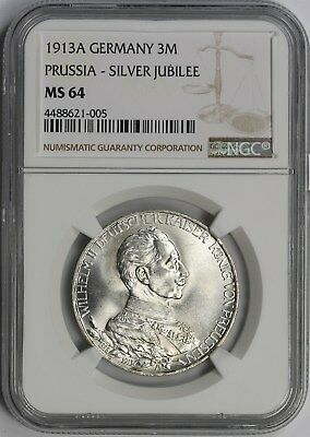 1913A Germany 3M 3 Mark Prussia - Silver Jubilee MS 64 NGC