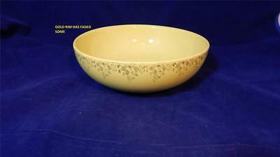 "VTG Mid-Century Hall's Superior Quality Kitchenware 9"" Gilded Floral Yellow Bowl"