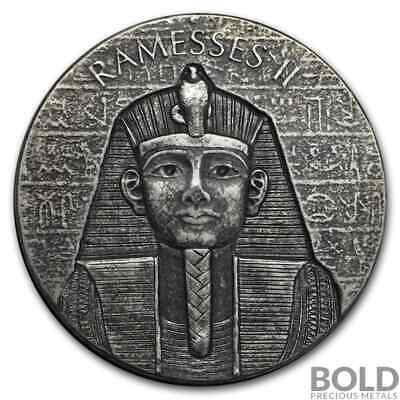 2017 Republic of Chad Pharaoh Ramesses II .999 2 oz Silver Coin Egyptian Relic