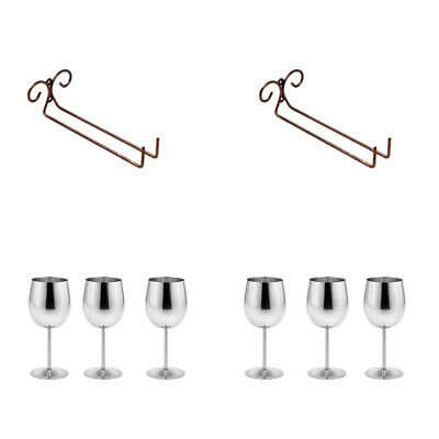 2pcs Wine Glass Rack Holder + Steel Wine Glasses Goblets Champagne Bar Rack