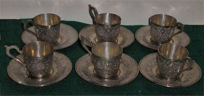 Set of 6 White Metal Middle (no Marks) Eastern Coffee Cups & Saucers