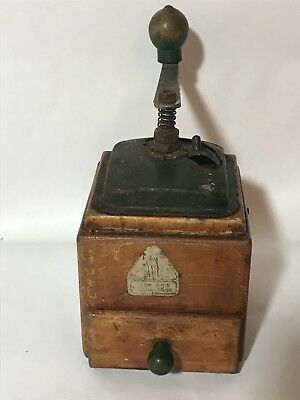 VINTAGE Antique Coffee Grinder Mill Wooden Ornate Cast Iron Design RARE Green