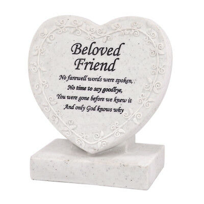 Beloved Friend Heart Shaped Memorial Grave Plaque Cremation Marker