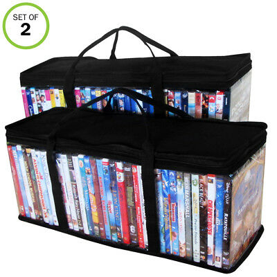 Evelots DVD-Blu Ray-Video-Storage Bag-Clear-Handle-Hold 80 Total-Black Top-Set/2