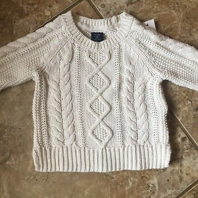 Euc Baby Gap Girls Winter White Cable Knit Sweater Size 3T