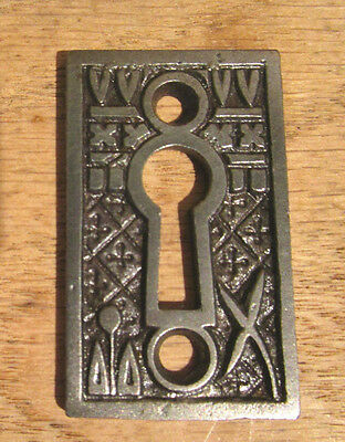 "Antique KEY HOLE COVER Lockwood ""Broken Leaf"" Victorian Eastlake Door Lock Plate"