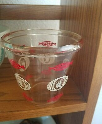 Vintage clear glass red white bows-women bonnet Cottage cheese bowl?Hazel?Libby?
