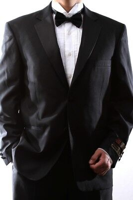 Men's Single Breasted Two Button Black Tuxedo, Pl-T60212N-Blk