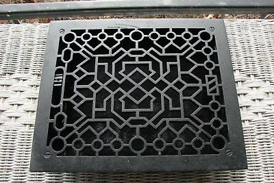 Antique Vintage Cast Iron Floor Grate Heat Return Register Vent Art Deco 12 X 10