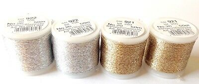 4x Stickgarn Rico Design je 50m Mix Metallic Embroidery thread Metallstickgarn