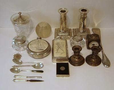 A Collection Of Sterling Silver Items & Silverplated Items & Other Collectables