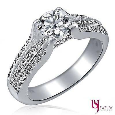 Vintage Style 0.98 Ct Round Cut Engagement Ring 14k White Gold Triple Band F/VS1