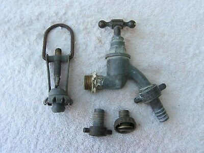 Vintage Brass Garden Water Tap With Several Hose Fittings
