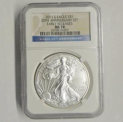 2011 S NGC MS70 Silver Eagle Dollar, MS 70 1 Ounce Silver $1 from 25th Anniv Set