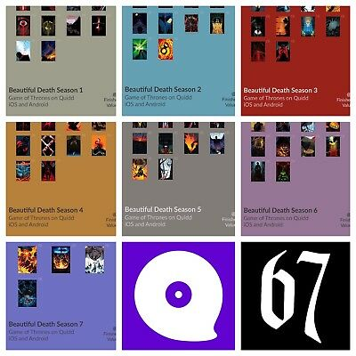 QUIDD Game of Thrones BEAUTIFUL DEATH Season 1 2 3 4 5 6 7 FULL SET 1st 67 Cards