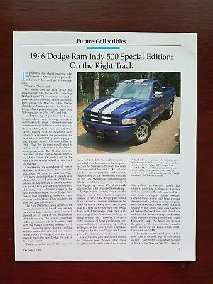 1996 Dodge Ram Indy 500 Special Edition - 3 Page Article - Free Shipping