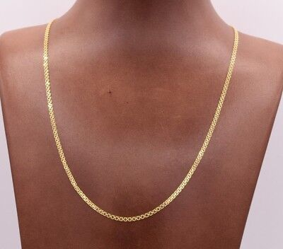 2mm Bismark Bizmark Chain Necklace 14K Yellow Gold Clad Silver 925 ITALY
