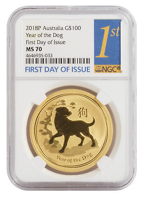 2018-P $100 1oz Gold Australian Year of the Dog MS 70 First Day of Issue NGC BU
