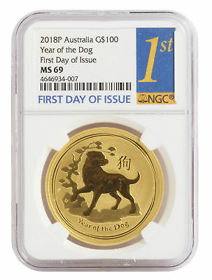 2018-P $100 1oz Gold Australian Year of the Dog MS 69 First Day of Issue NGC BU