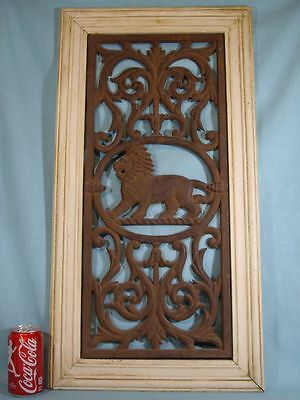"""31"""" ORNATE Cast Iron Grate LION HEAD Wall Hanging Antique Vintage"""