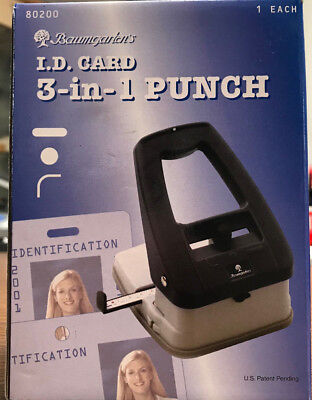 Baumgarten's I.D. Card 3-in-1 Punch (80200) Brand New w/ Free Shipping