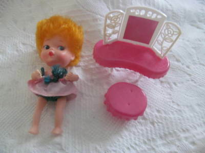 "Vintage 1966 MY TOY TINY TERRY 4"" Doll & Vanity Table w/Stool~Estate Fresh!"