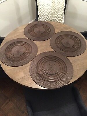 Round Brown Placemats Woven Modern Dining Kitchen Table Guests Set Of 4 Placemat