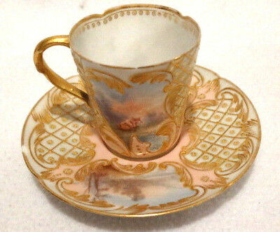 Antique1800's  Made for RB Boston H.P.French Limoges Gilded Scenic Demitasse Cup