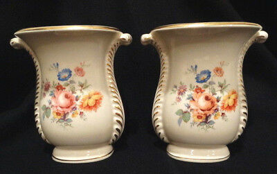 "Antique Matching Pair of 1930's Floral Bouquet Transfer 8"" Tall 2 Handle Vases"