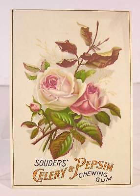 1890s SOUDERS PEPSIN CHEWING GUM CHROMOLITHOGRAPH WINDOW CARD ADVERTISING SIGN 2