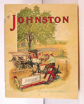 ca1905 JOHNSTON HORSE DRAWN FARM MACHINERY CATALOG w/ CHROMOLITHOGRAPH COVERS