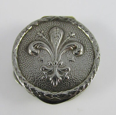 Vintage Italy Silver Plate Feather Fleur-de-Lis Round Hinged Pill Box