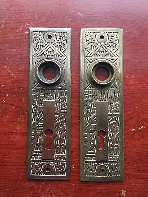 Antique Pair Of Victorian Brass Very Ornate Ceylon  Backplate. Original Patina