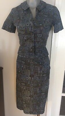 Vtg 1940s 50s Novelty Print Cotton  Two Piece Peplum Skirt Suit Art Deco Swing A