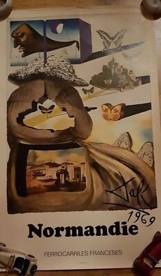 Dali Salvador : Normandie Lithographie Originell signiert plate SNCF