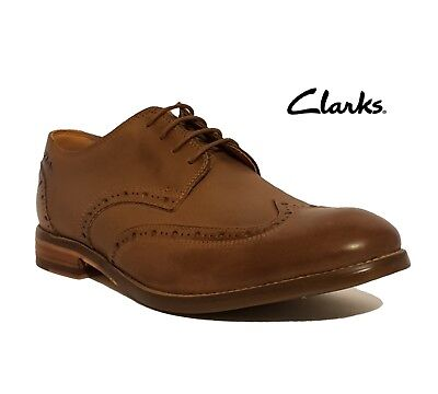 Clarks Rrp £75 Exton Brogue Tan Brown Genuine Leather Lace Up Shoes Mens