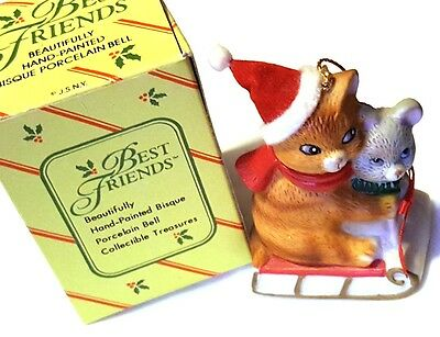 """Adorable 3"""" Porcelain Christmas Bell Kitty Cat & Mouse ~ Best Friends"""