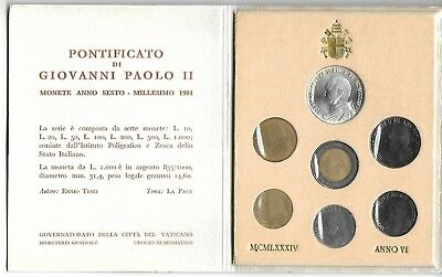 Vatican 1984 Mint set  7 coins original holder 1000 Lire 83.5 silver coin unc