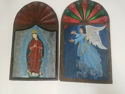 Vintage Wall Art Angels Cherubs Virgin Mary Shabby Antique Chic Arched Wood