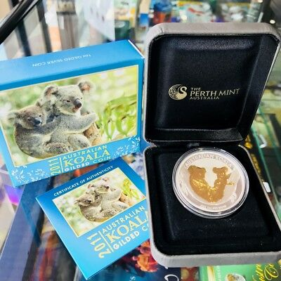 "2011 Australian Koala ""Gold Gilded"" $1 Silver 1oz Coloured Proof Coin Perth Mint"