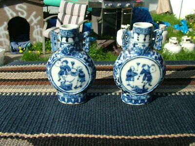 Pair 20Thc. Chinese Export Porcelain  Blue & White Small Cabinet Vases