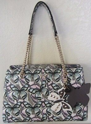 GUESS Marciano Multi Color FLUTTER Butterfly Charm Chain Bag Purse NWT