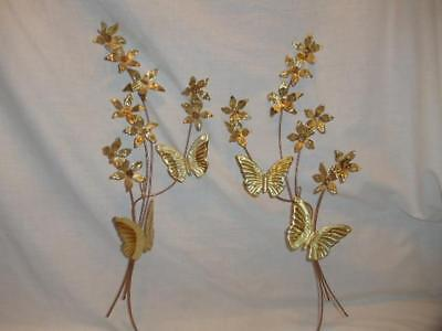 Vintage Set of 2 Homco Brass Gold Tone Butterfly Flower Metal Wall Hanging Decor