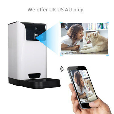 6L Smart Dog Cat Pet Feeder Remote Webcam Phone App Program Wifi Automatic Time