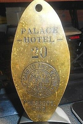 Antique Palace Hotel Prescott Arizona Brass Room Key Tag #20 Collectable Rare