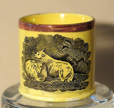 """Antique Canary Yellow Child's Mug Copper Lustre """"Withington Collection""""  C.1825"""